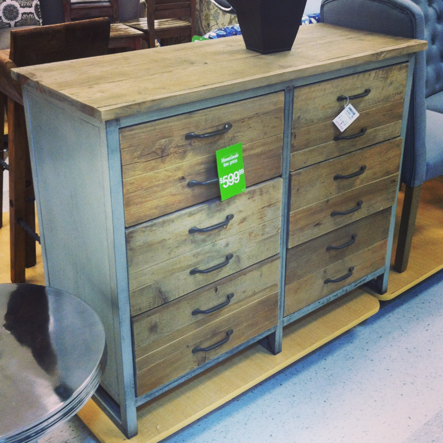 I thought this dresser was interesting  The drawers were deep  I loved the  contrast of the multiple colors  I found it to be rustic  and very cool. I m obsessed with Homegoods    Bake  Create  Love