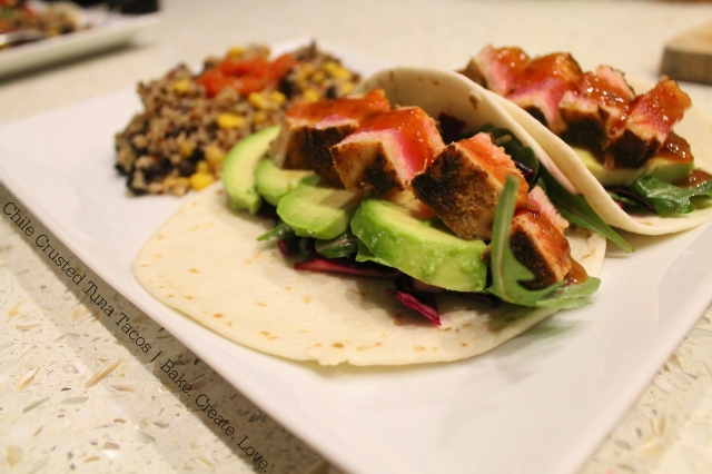 Chile Crusted Tuna Tacos - Bake. Create. Love.