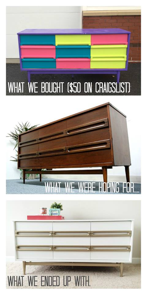 White & Gold Mid Century Modern Dresser | Bake. Create. Love.