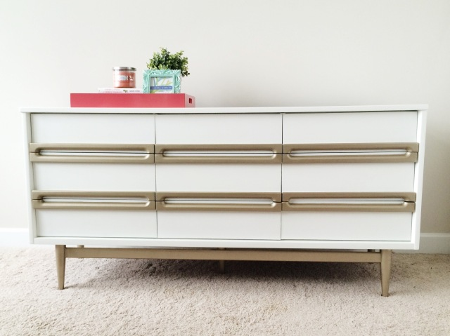 White & Gold Mid Century Modern Dresser   Bake. Create. Love.